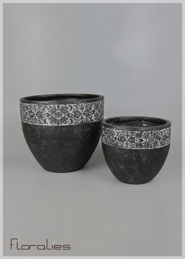 cache pot noir arrondi floralies. Black Bedroom Furniture Sets. Home Design Ideas