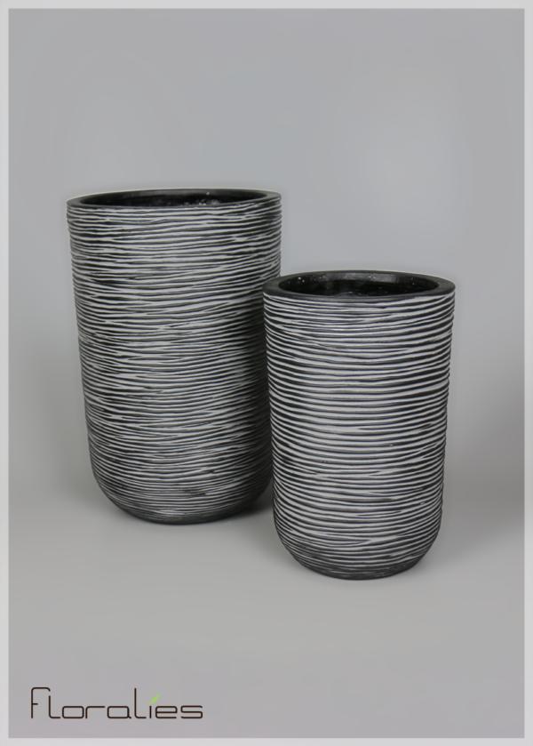 Cache pot cylindrique strié noir et blanc