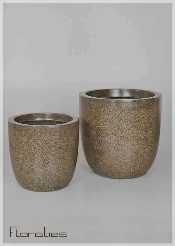 Pot cylindrique marron décoratif