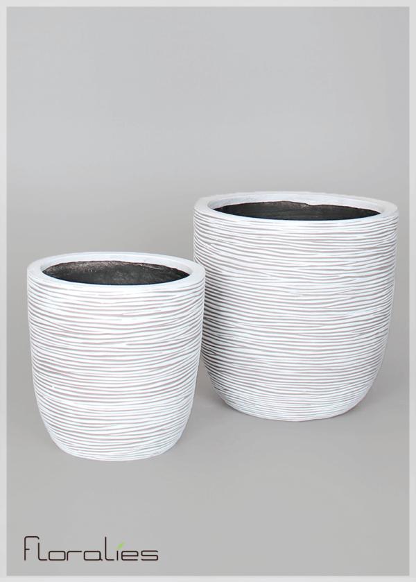 Pot conique gris strié