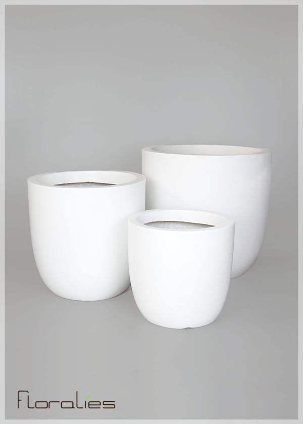Pot cylindrique blanc décoratif