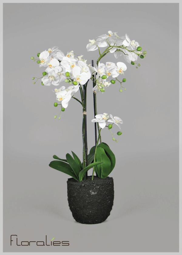 Orchidée artificielle en pot terre