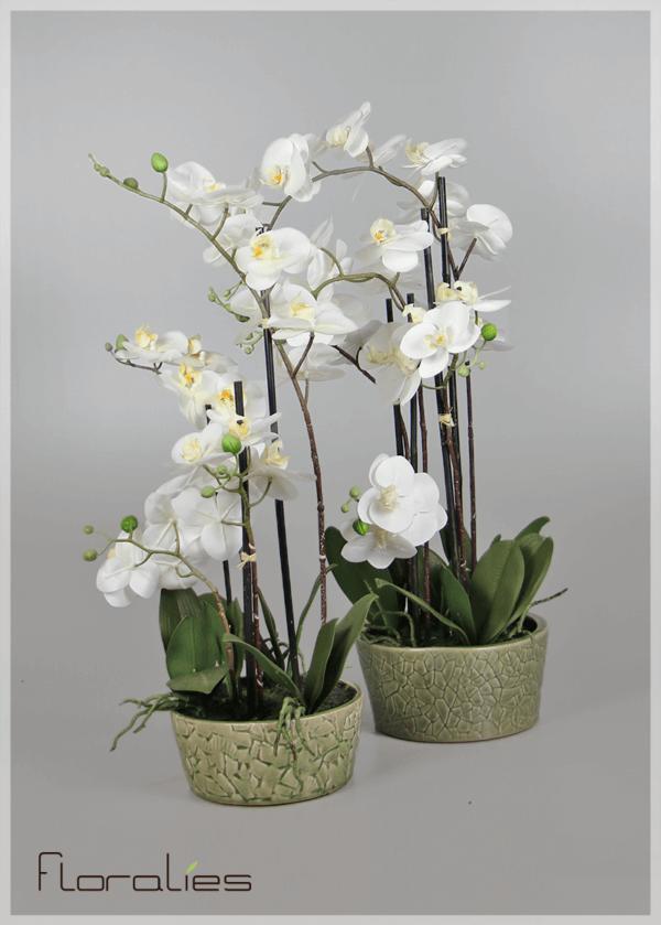 Orchidée artificielle pot vert