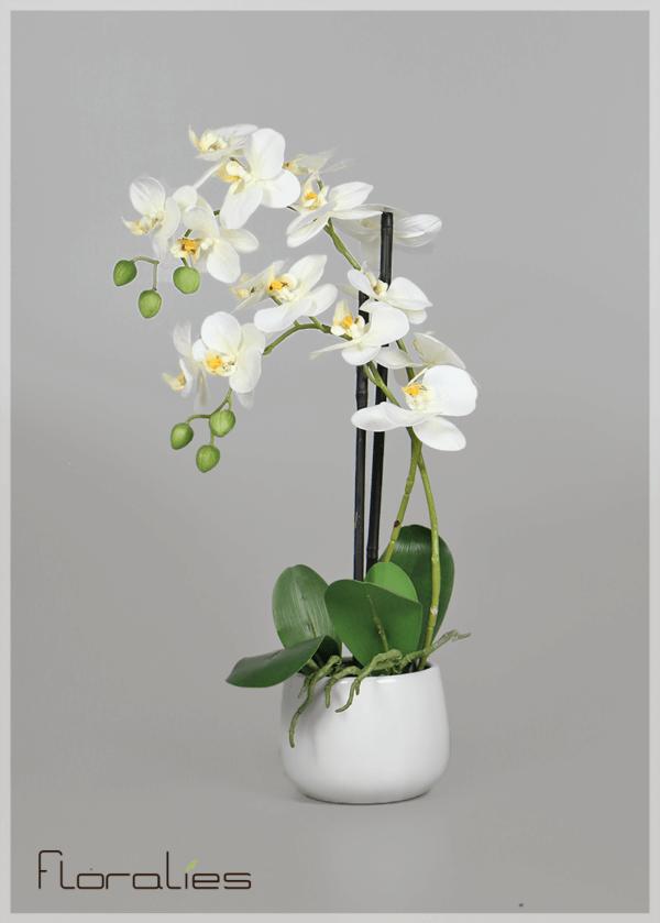 Orchidée artificielle pot rond