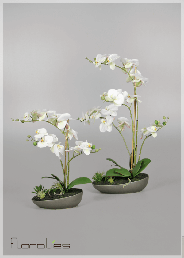 Orchidées artificielles pot gris